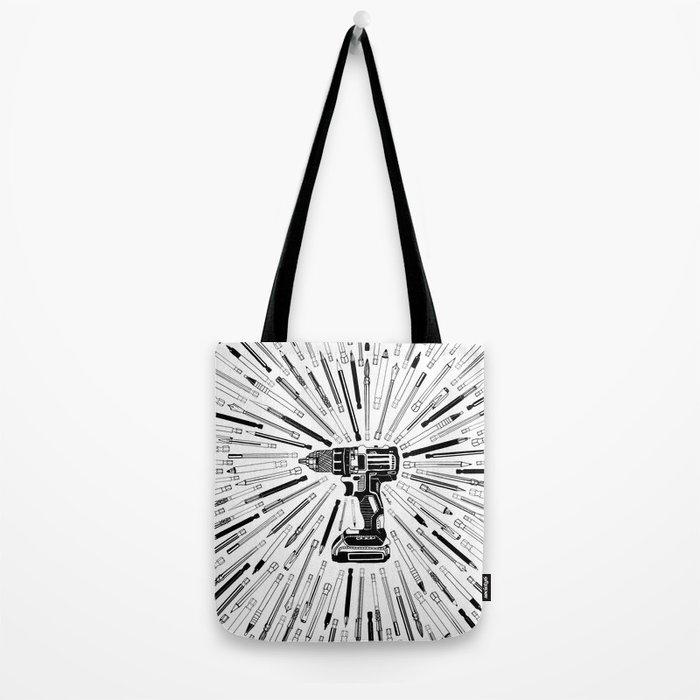 Art Power Tools Drill Bit Set Doodle Tote Bag