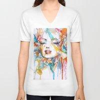 marylin monroe V-neck T-shirts featuring Marylin Monroe by Maria Zborovska