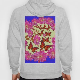 Blue & Yellow Butterflies  Pink Flowers Pattern Art Hoody