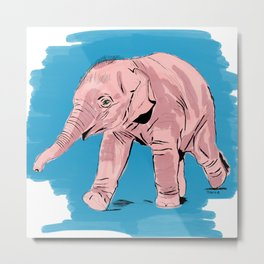 Ely the Baby Elephant Metal Print