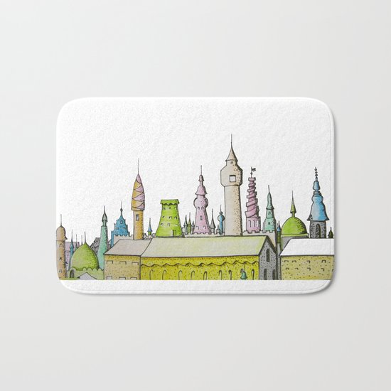 тhe city's rooftops painted with delicate flowers Bath Mat