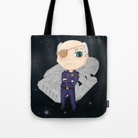 battlestar Tote Bags featuring Colonel Tigh 2 | Battlestar Galactica by The Minecrafteers