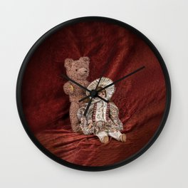 Memories of Childhood Teddy Bear and Doll Wall Clock