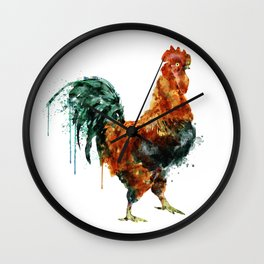Rooster watercolor painting Wall Clock