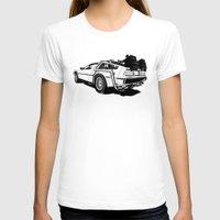 delorean T-shirts featuring DeLorean / BW by CranioDsgn