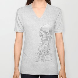 Thinking Skeleton (Black and White) Unisex V-Neck