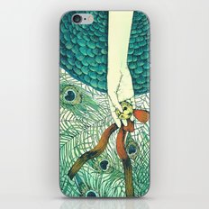 Golden bell and peacock feathers iPhone & iPod Skin
