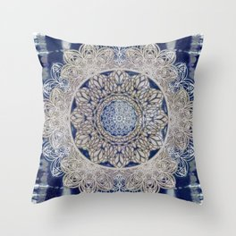 Celtic Boho Mandala Shibori Throw Pillow
