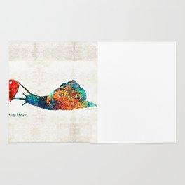 Snail Art - Love Grows Here - By Sharon Cummings Rug