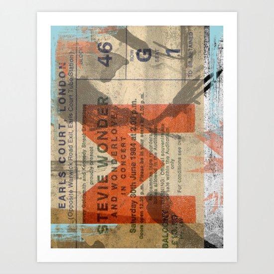 stevie wonder ticket stub Art Print