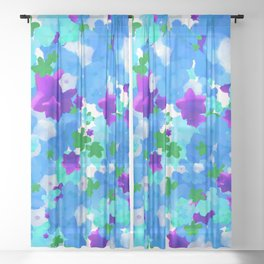 Bright Floral Pattern with Girly Flowers in Preppy Blue and Purple Sheer Curtain