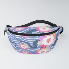 Sakura flowers Nature background with blossom branch of pink flowers. Cherry tree branches japanese Fanny Pack