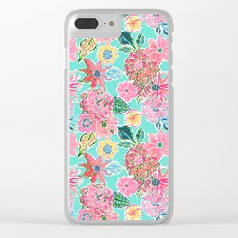 Fun Bright Whimsical Preppy Floral Print / Pattern Clear iPhone Case