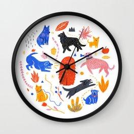 Dog park Wall Clock