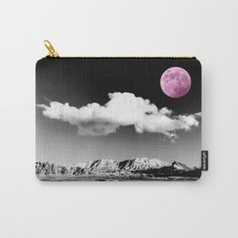 Black Desert Sky & Fuchsia Moon // Red Rock Canyon Las Vegas Mojave Lune Celestial Mountain Range Carry-All Pouch
