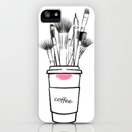 Makeup brush set and coffee cup fashion illustration iPhone Case