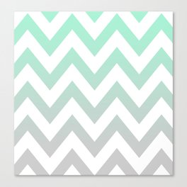 MINT GRAY CHEVRON FADE Canvas Print