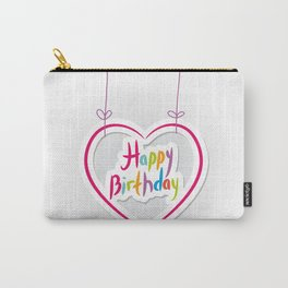 Happy birthday. pink heart on White background. Carry-All Pouch