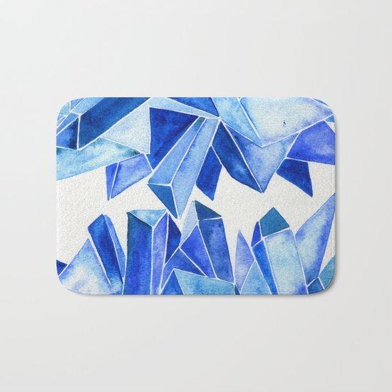 Sapphire Watercolor Facets Bath Mat