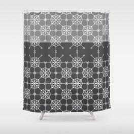 Portuguese Tiles of Lisboa in Grey with Glitch Shower Curtain
