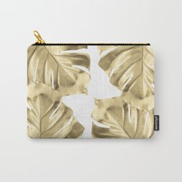 Gold Monstera Leaves on White Carry-All Pouch