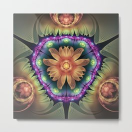 Crystalline Orange Quartz Agate Fractal Flowers Metal Print