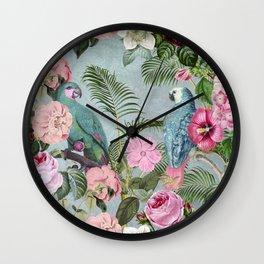 Parrots Jungle Rendevous Wall Clock