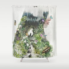 Cat in the Garden of Your Mind Shower Curtain