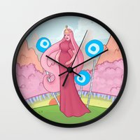 princess bubblegum Wall Clocks featuring Princess Bubblegum by Antoine Jean