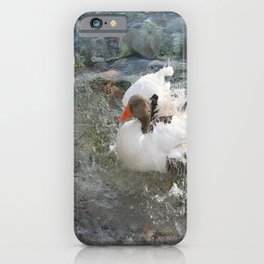 Duck Splashing Water Creating Ripples on Riverbank iPhone Case