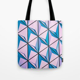 Pink Blue Geometric Triangle Pattern Tote Bag