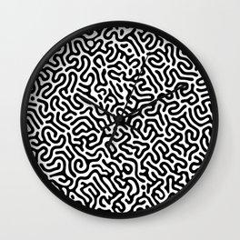 Black and White Organic MAZE Pattern Wall Clock