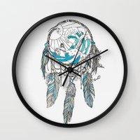 dream catcher Wall Clocks featuring Dream Catcher by Huebucket
