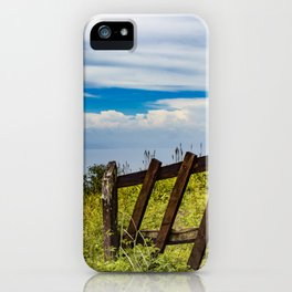 Wood Fence Lining a Meadow with Lake Views on Mombacho Volcano in Nicaragua iPhone Case