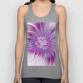 Pink Flower Passion, Abstract Fractal Art Unisex Tank Top