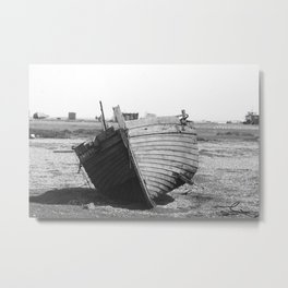 Dungeness Black and White Metal Print