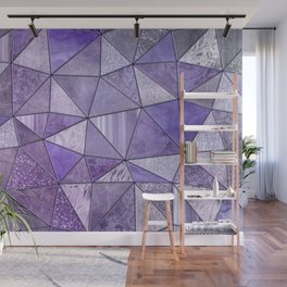 Purple Lilac Glamour Shiny Stained Glass Wall Mural
