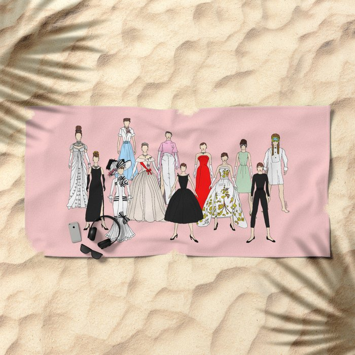 Audrey Hepburn Think Pink Outfits Fashion Beach Towel
