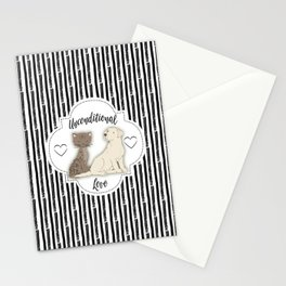 Unconditional Love Cat and Dog as Family Members Stripes Stationery Cards