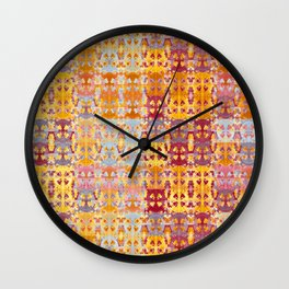 Retro African Textile Warm Tones Wall Clock