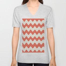 Pantone Living Coral & Cannoli Cream Soft Zigzag Rippled Horizontal Line Pattern Unisex V-Neck