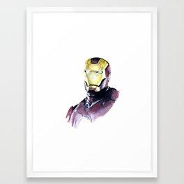 """Iron Man"" Watercolor Portrait Framed Art Print"