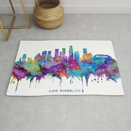 Los Angeles Skyline Colorful Watercolor Art Cityscape With City Name Los Angeles Cityscape Rug