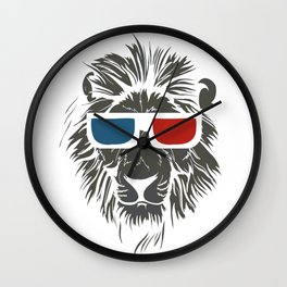 Lion with 3D sunglasses Wall Clock