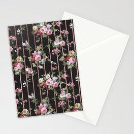 Elegant faux rose gold black stripes vintage blush pink lavender floral Stationery Cards