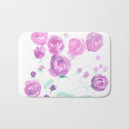 violet watercolor roses Bath Mat