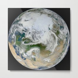 Planet Earth Blue Marble 2012 - 'White Marble' Arctic View Metal Print