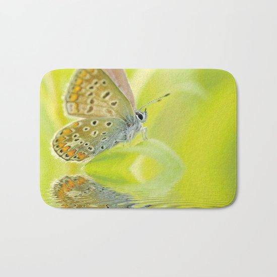 zen style butterfly green outdoor Bath Mat