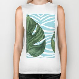 Tropical Watercolor Swiss Cheese Leaf and Zebra Biker Tank