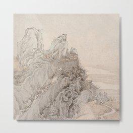 White Crane Mountain Metal Print